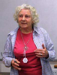 Margaret Thomas presenting a speech